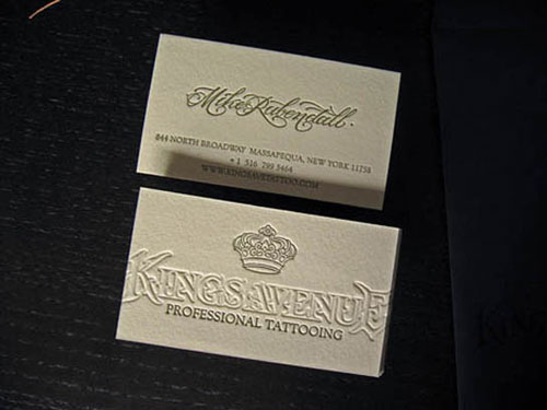 Kings Avenue Tattoo Letterpress Business Card