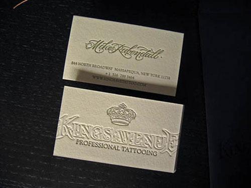 Kings Avenue Tattoo Letterpress Business Card