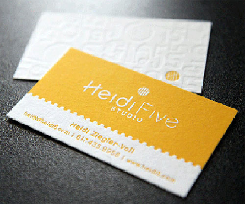 Letterpress Heidi Five Studio Business Card