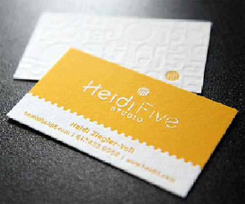 Letterpress Heidi Five Studio Business Card