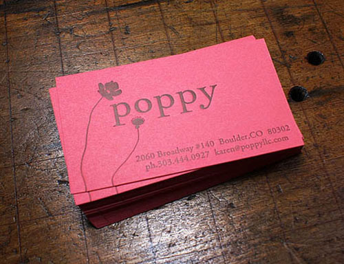 Letterpress Business Card: Poppy