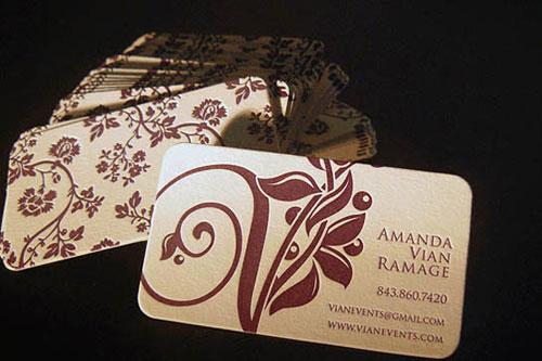 Vian Events Letterpess Business Card