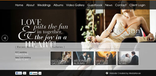 Photography Websites Reflexion Wedding Photography
