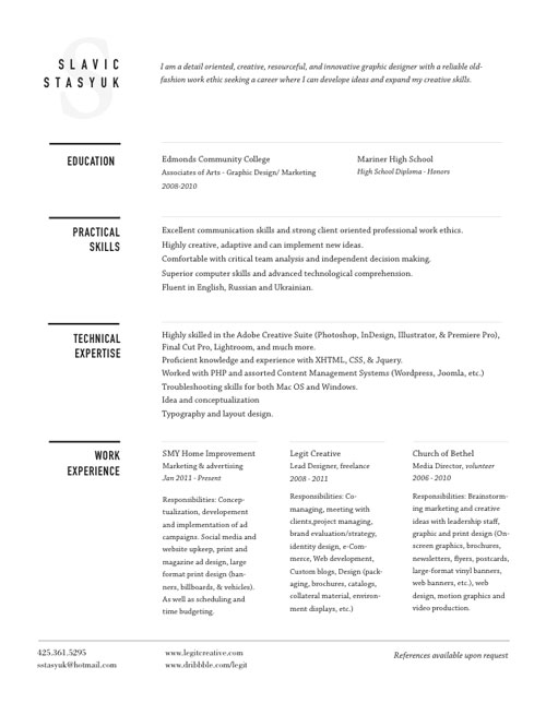 30 great examples of creative cv resume design web graphic design