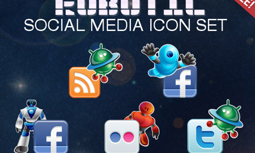 robotic social media icons