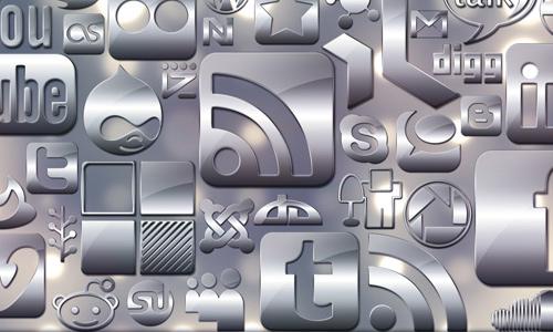(glossy silver social media icons