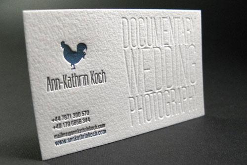 Danh thiếp Letterpress cho Nhiếp ảnh gia đám cưới