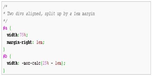 Firefox 4: CSS3 calc()