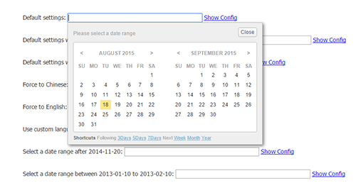 jQuery range date picker plugin