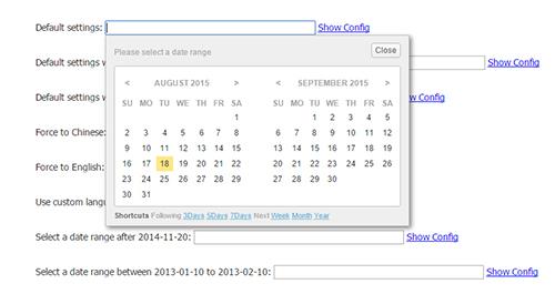 jQuery range date picker plugin