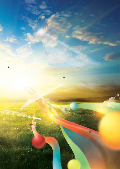 Create a summery photomontage