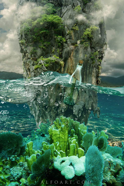 Message in a Bottle, bottle splashing in waves, Rough Water Surface, copy space, james bond island