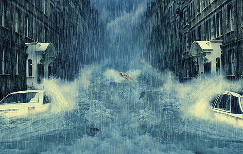 Create a photo manipulation of a flooded city scene 2012 effect