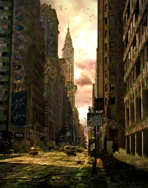Create a Dark Post-Apocalyptic city illustration