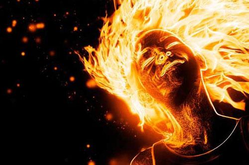 Create a flaming girl photo manipulation