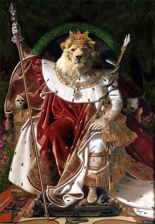 Creative photoshop animal king photo manipulation