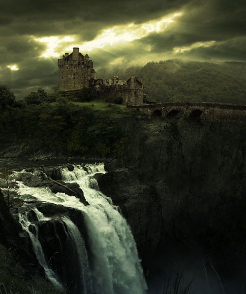 Create a waterfall and a colored sky blending manipulation