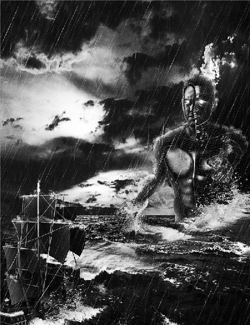Create Black and White Dramatic Storm Scene