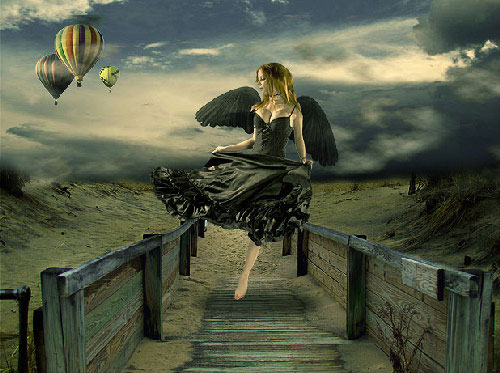 Design Surreal Composition Fallen Angel Dream Fly