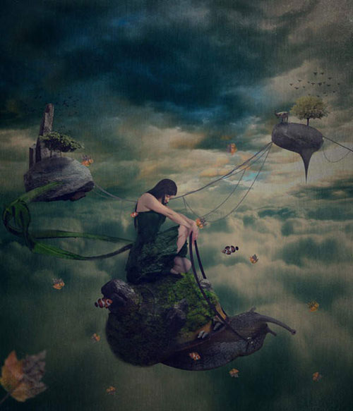 Create a Surreal Scene With a Cool Snail That Flies