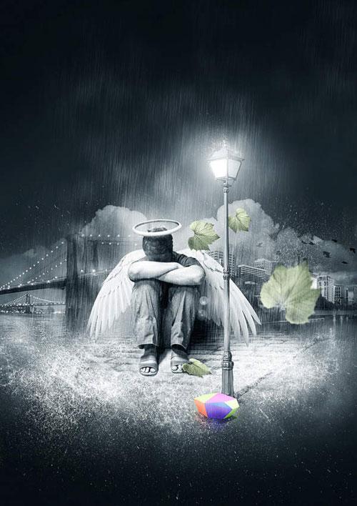 Create a Fallen Rain Soaked Angel