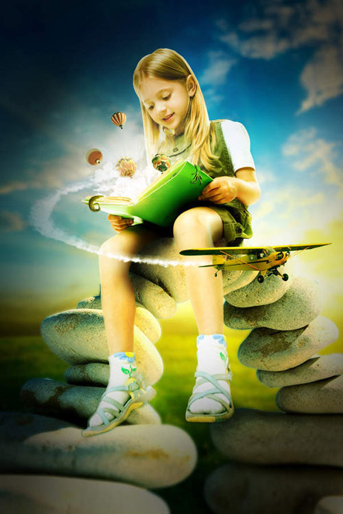 Photo manipulate and Explosive magical Reading Scene