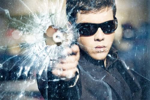 Gun Shot Through Glass