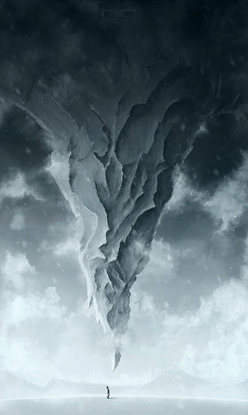 Create a upside Down Mountain Painting