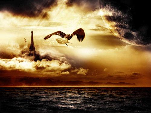 Create a Surreal Floating Eiffel Tower Scene