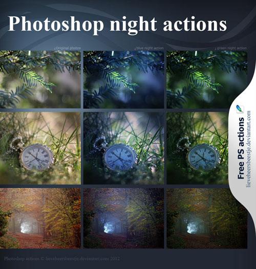 Acciones nocturnas de Photoshop por lieveheersbeestje
