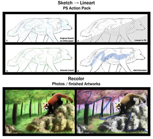 Acciones: arte lineal y color DarkSilverflame