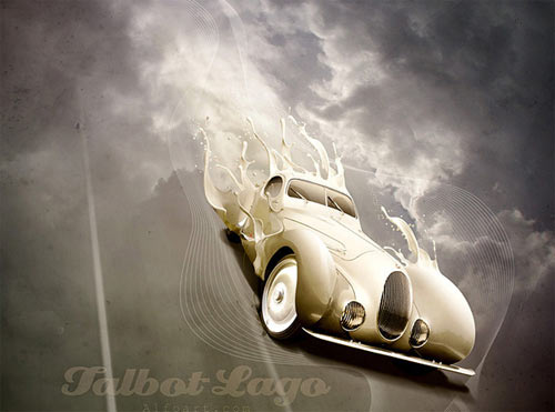 Luxury Retro Car Poster with Paint Splashing Effect