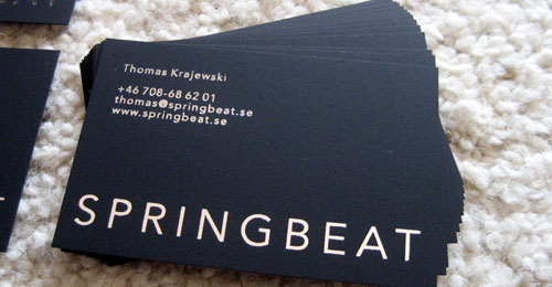 Springbeat, black business card