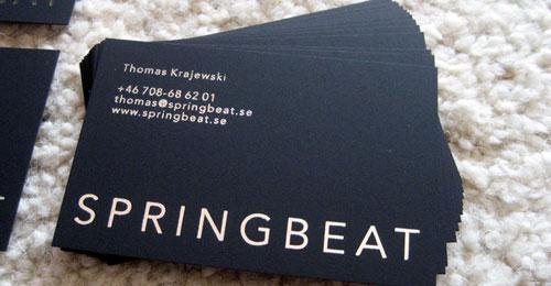 Springbeat, black business card