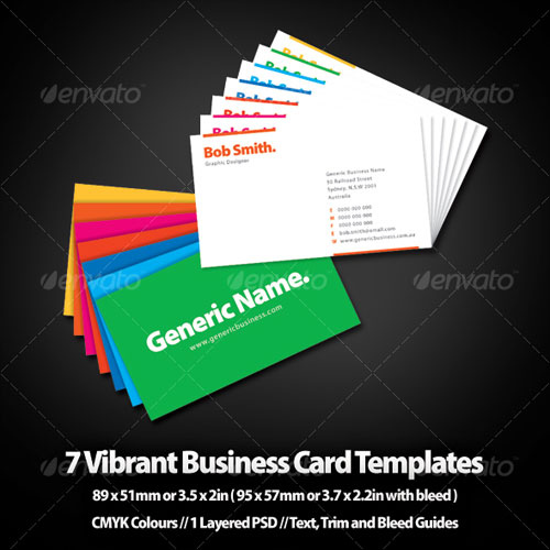 Seven Vibrant Business Card Templates