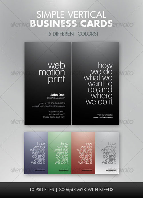 Simple Vertical Business Cards - 5 Color Set!