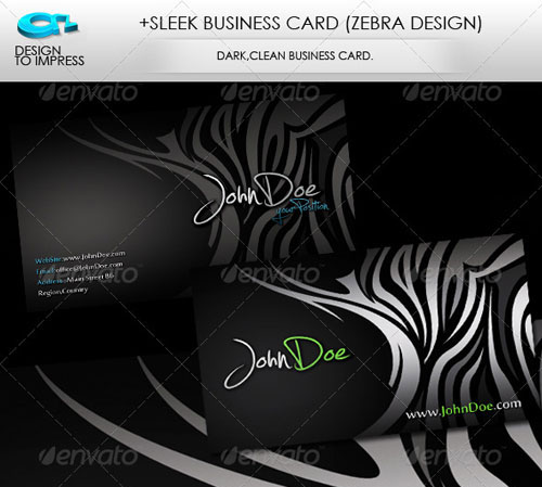 +Sleek Business Card (Zebra Design)