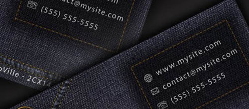 Design a cool and original jeans style Business Card in Photoshop