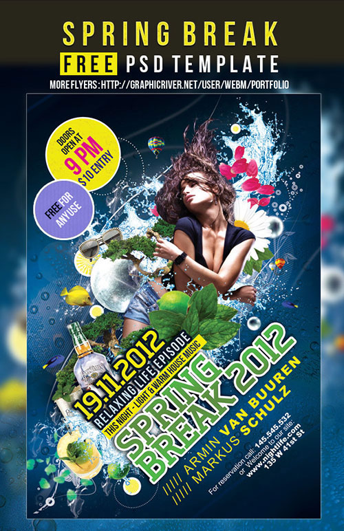 Spring Break – Free Flyer Party PSD template