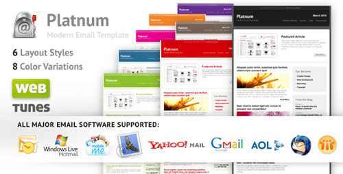 Platnum Email Template, 6 Layouts, 8 Colors