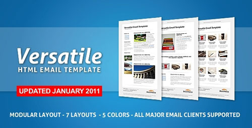 Versatile Email Template - 7 layouts + 5 colors