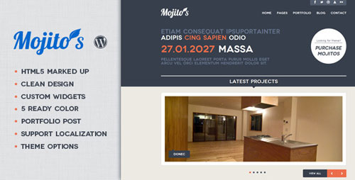 Mojitos Creative portfolio WordPress Theme