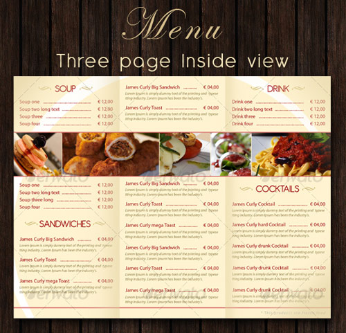 High quality restaurant menu design templates web