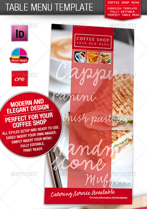Cafe, Coffee Shop / Restaurant Menu
