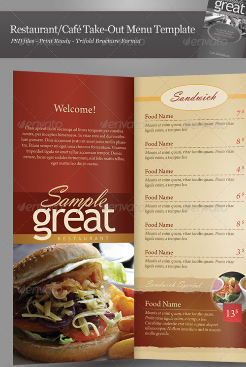 Restaurant Café Take Out Menu  A La Carte Menu Template
