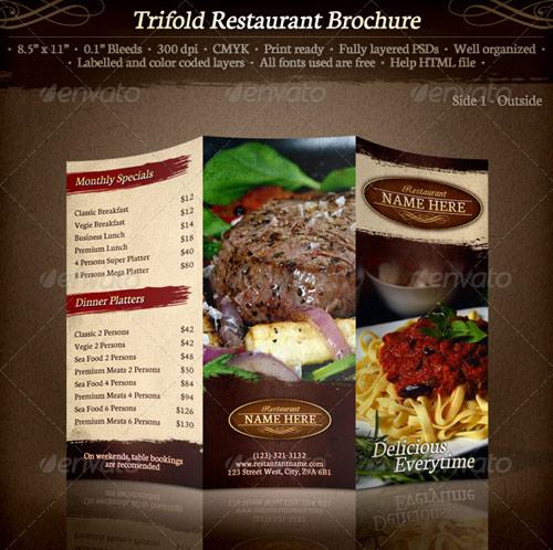 Free Trifold Brochure Restaurant Cafe Menu Psd Template