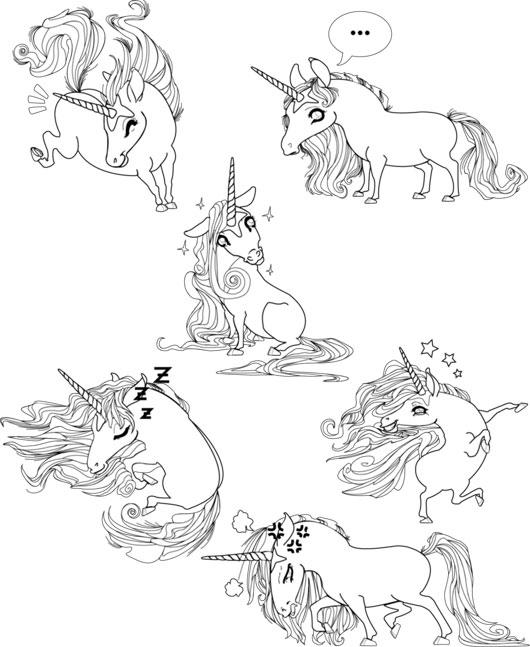 Unicorns poses