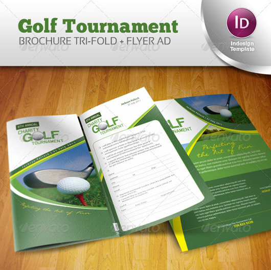 Golf Tournament Brochure Trifold + Flyer Ad