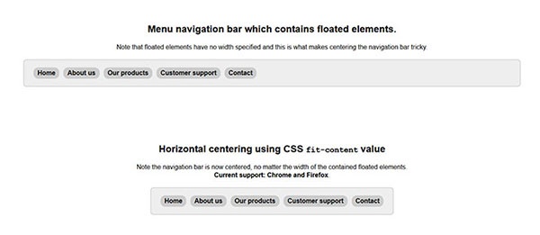 Horizontal centering using CSS fit-content value