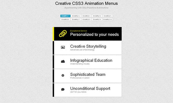 Creative CSS3 Animation Menus